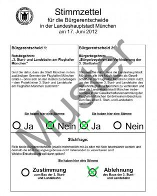 Muster-Abstimmung GEGEN die 3. Startbahn beim Bürgerbegehren am 17.06.2012