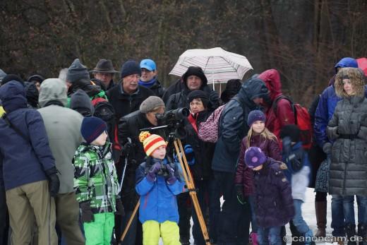 Besucher der LBV-Eulen-Führung mit Werner Borok