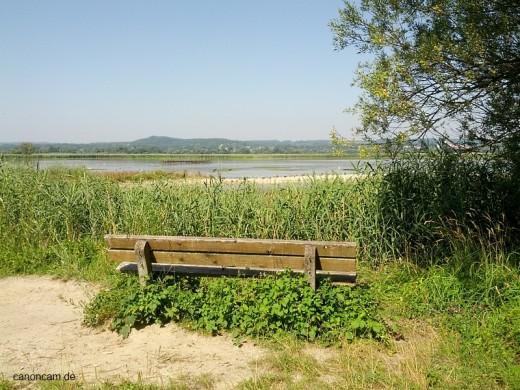 Orni-Bank mit Blick auf Großen Binnensee am Ammersee Südufer
