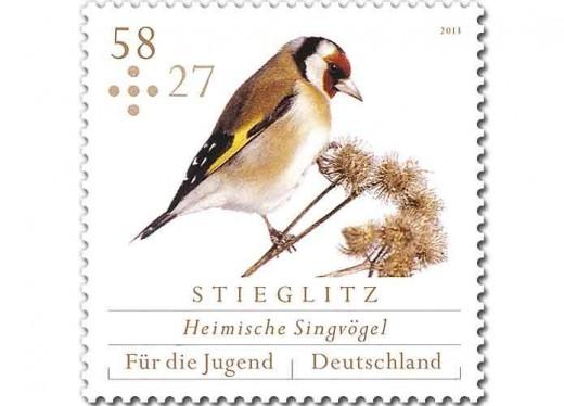 Stieglitz - Zuschlag-Briefmarke der Deutschen Post (c) Deutsche Post