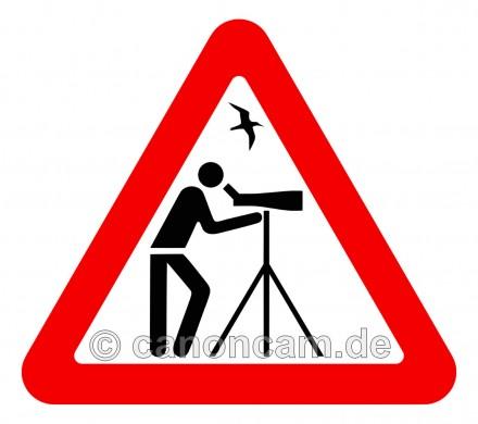 Vorsicht, birder! - unser canoncam-Orni-Piktogramm