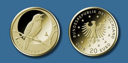 20-Euro-Goldmünze 2016 ?Nachtigall? © BADV