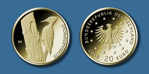 20-Euro-Goldmünze 2021 ?Schwarzspecht? © BADV