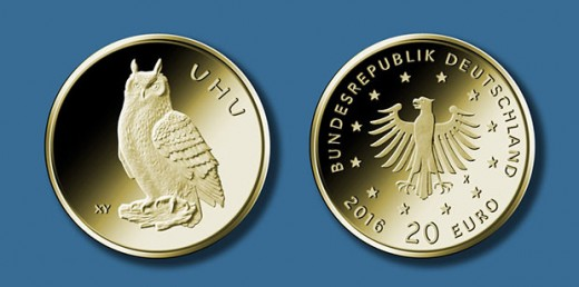 20-Euro-Goldmmünze 2018 ?Uhu? © BADV