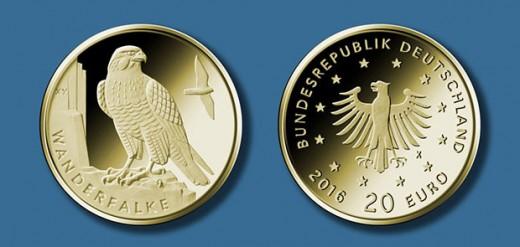 20-Euro-Goldmünze 2019 ?Wanderfalke? © BADV