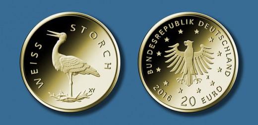 20-Euro-Goldmünze 2020 ?Weißstorch? © BADV