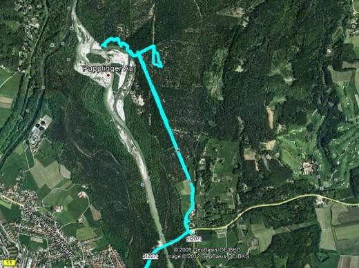 Wanderung durch die Pupplinger Au - 5,4 km (Kartenmaterial: Google)