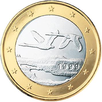 Zwei Singschwäne auf der finnischen Ein-Euro-Münze
